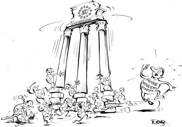 Zwischen den großen und kleinen Mitgliedstaaten der Europäischen Union kommt es immer wieder zu Meinungsverschiedenheiten über eine gemeinsame Verfassung.