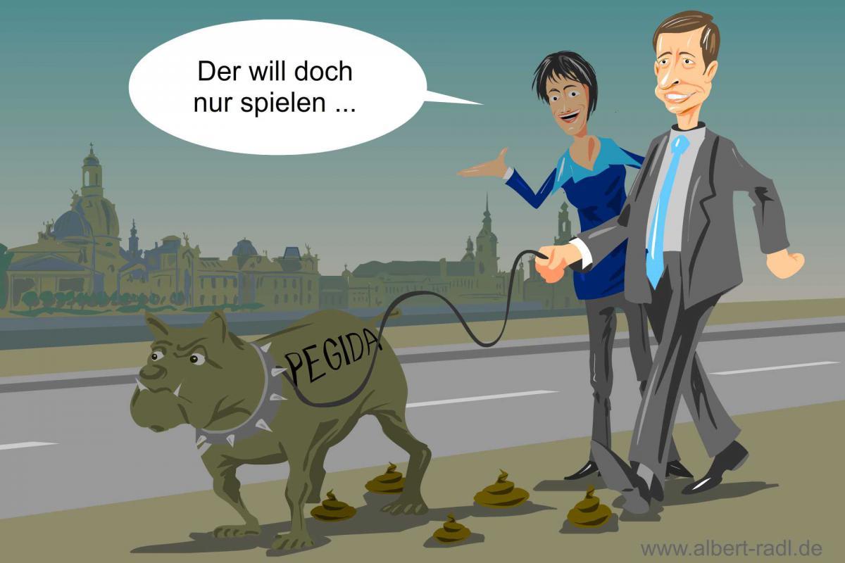 Die AfD sucht offen den Kontakt und die Zusammenarbeit mit der Dresdner Bewegung Pegida. (Aus einer Zeit als sowohl Bernd Lucke als auch Frau K Petry noch Parteimitglieder waren ...)