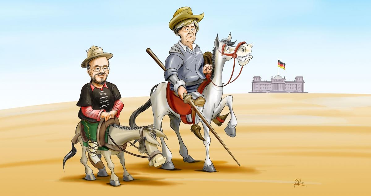 Die Kanzlerkandidaten Angela Merkel und Martin Schulz führen die Parteien der Großen Koalition in das Wahljahr 2017.