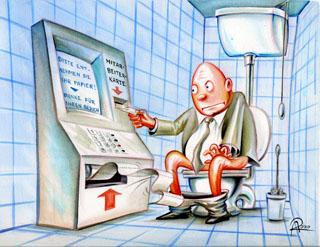Im Corona-Jahr steht jedem Mitarbeiter nur eine kleine Menge an Toilettenpapier zu.